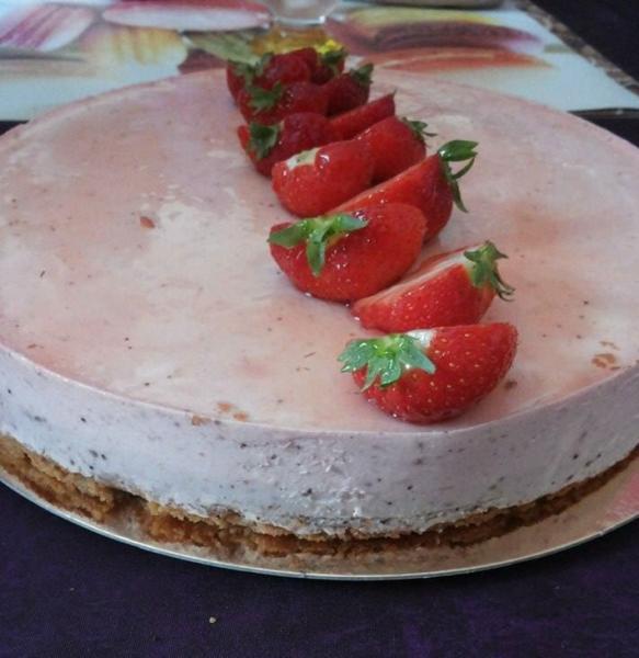 Bavarois fraise-menthe poivree