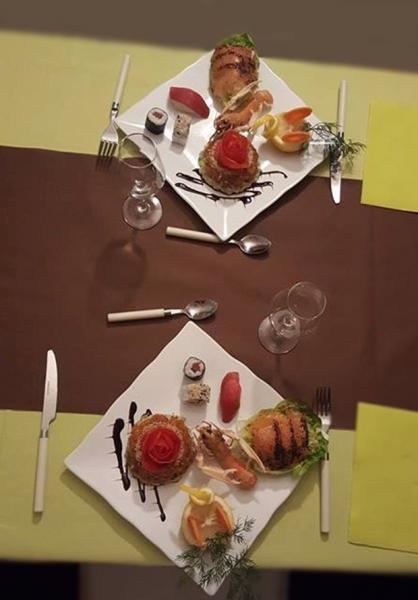 Maki & tartare de saumon,langoustine