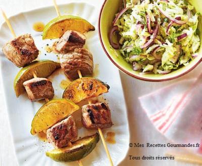 brochette-de-boeuf-et-salade-de-chou