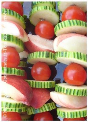 brochettes legumes et peche blanche