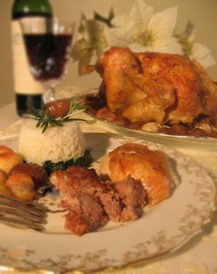 Chapon laque miel farci au foie gras2011