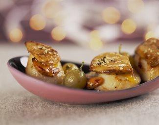 Saint-Jacques poêlées au foie gras