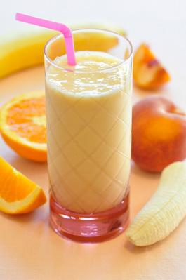 smoothies-pêche-bananes orange