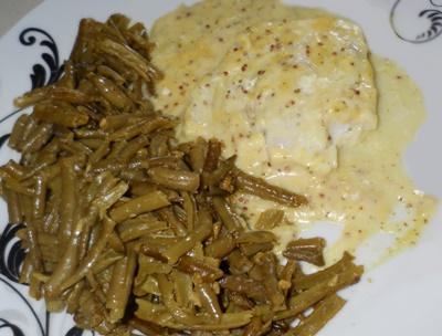 Cabillaud à la moutarde à l'ancienne et haricots vert