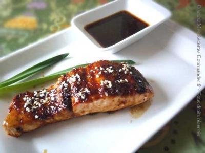 saumon grille sauce sukiyaki