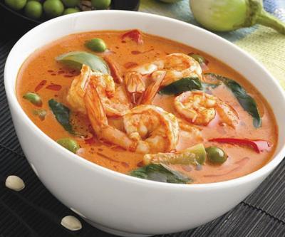 Soupe epicee aux crevettes et citronnelle
