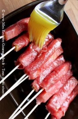 yakitori deboeuf fromage preparation